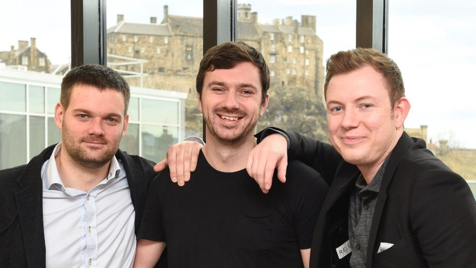 Cally Russell (R) with Lost Stock co-founders Callum Stuart and Jamie Sutherland