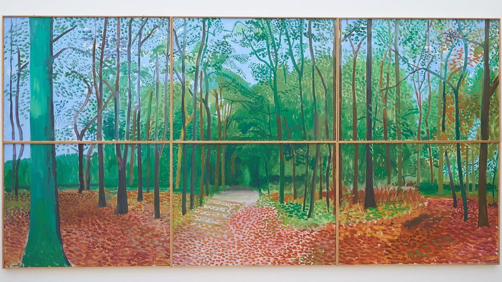 Painting of trees by David Hockney