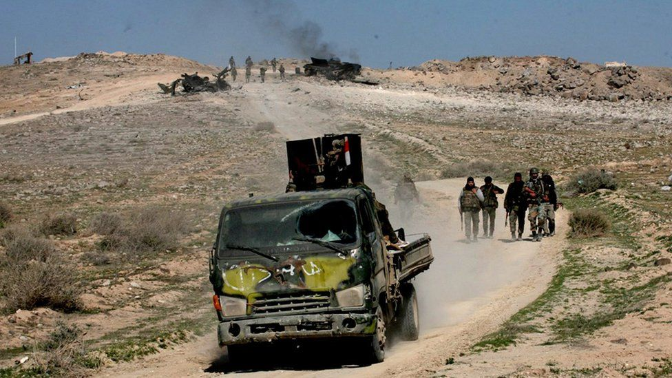 Syrian Army forces on Aleppo-Khanaser road in Aleppo province, Syria, 29 February 2016
