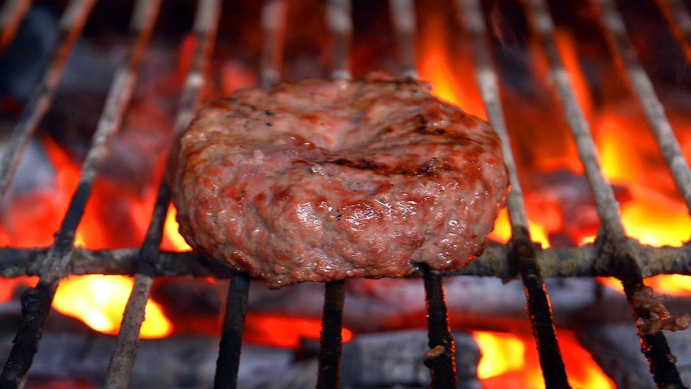 Burger on grill
