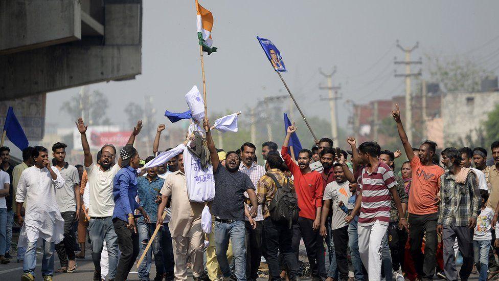 People protesting in Jalandhar, Punjab