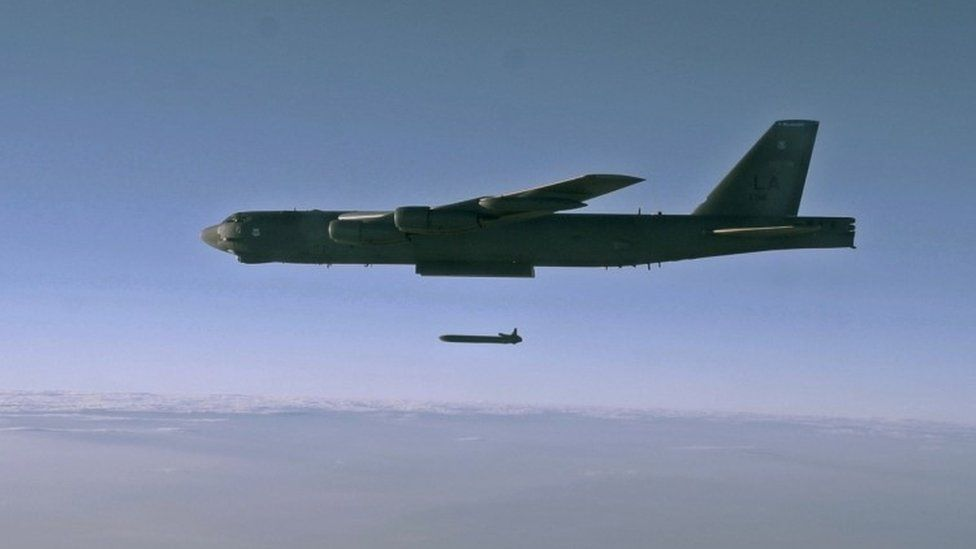 An unarmed cruise missile during testing in Utah