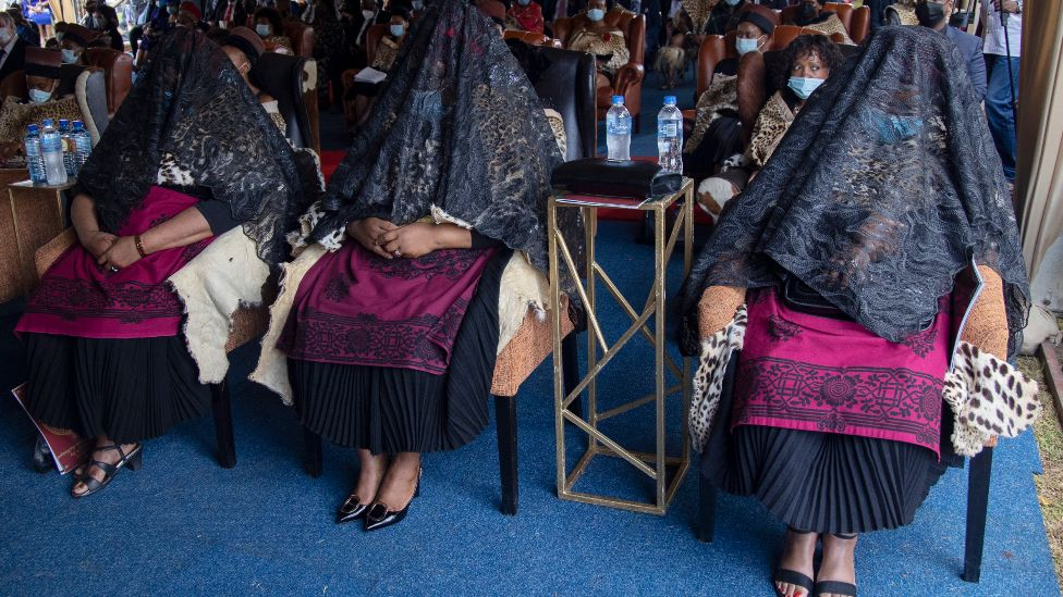 The shrouded queens - the three widows of King Goodwill Zwelithini - at his memorial service in Nongoma, South Africa - 18 March 2021