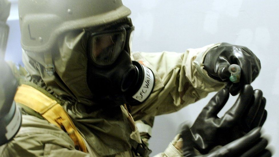 A US soldier in a chemical weapons training drill (file image)