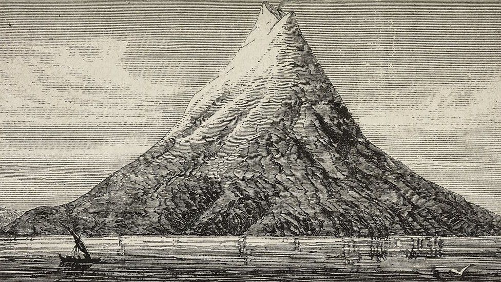An illustration of Krakatau before the eruption in 1883
