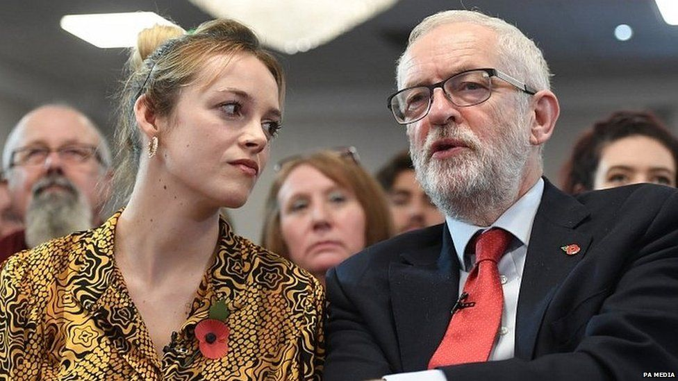 Jeremy Corbyn speaking to Labour's candidate in Harlow, Laura McAlpine