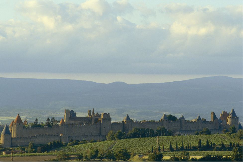 Carcassonne castle, with mountains in the background