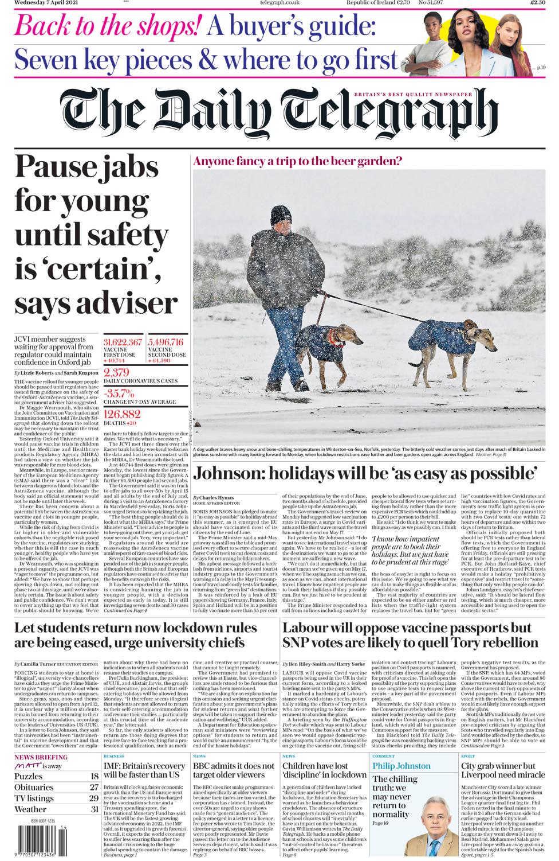 Daily Telegraph Wednesday