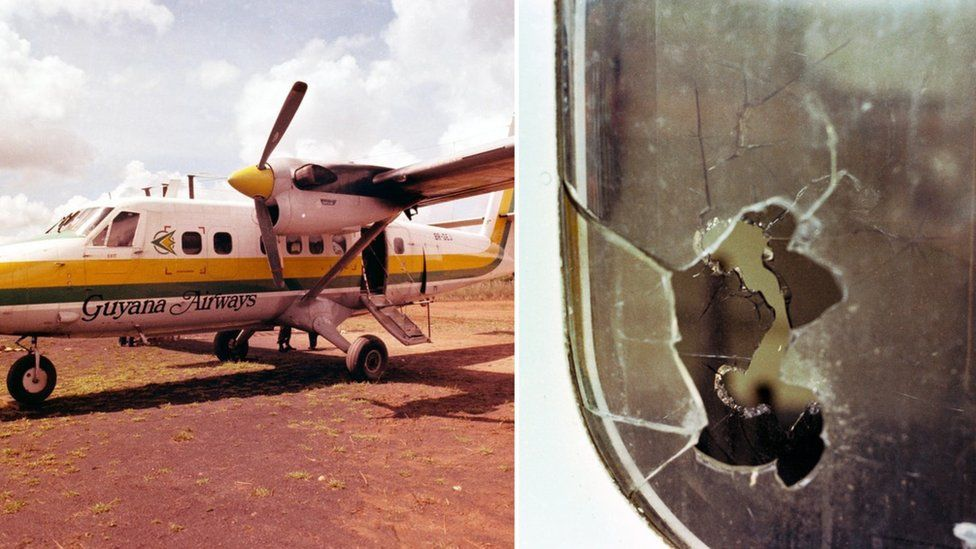 Photograph of plane after shooting and a close-up shot of window