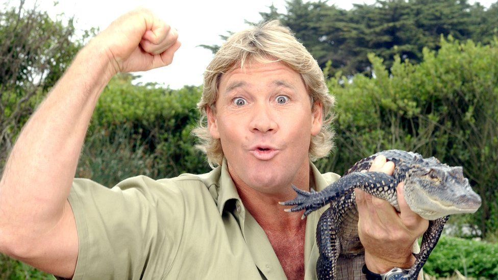 The Crocodile Hunter', Steve Irwin, poses with a three foot long alligator at the San Francisco Zoo on June 26, 2002