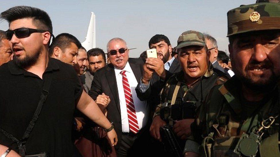 Gen Dostum at Kabul airport
