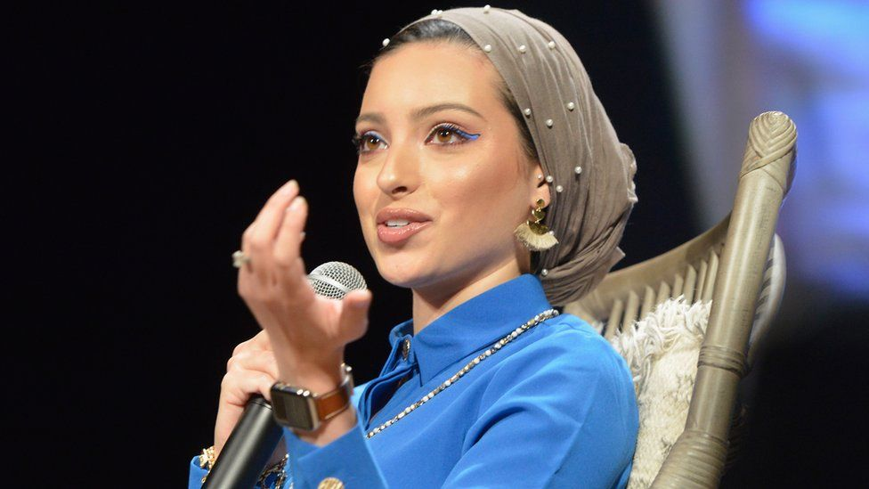 Noor Tagouri speaks during the Hello Sunshine x Together Live tour at The Michigan Theater