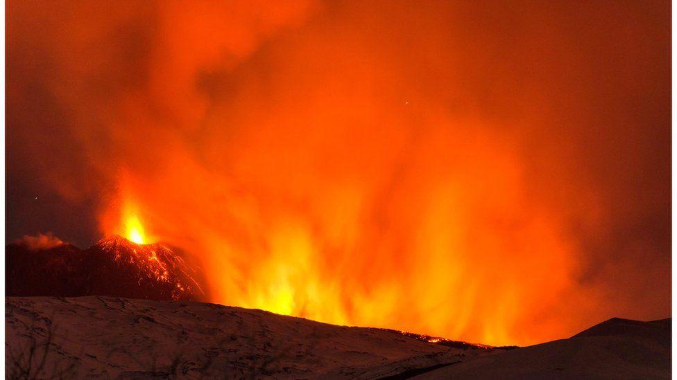 Mount Etna erupting, 15 March