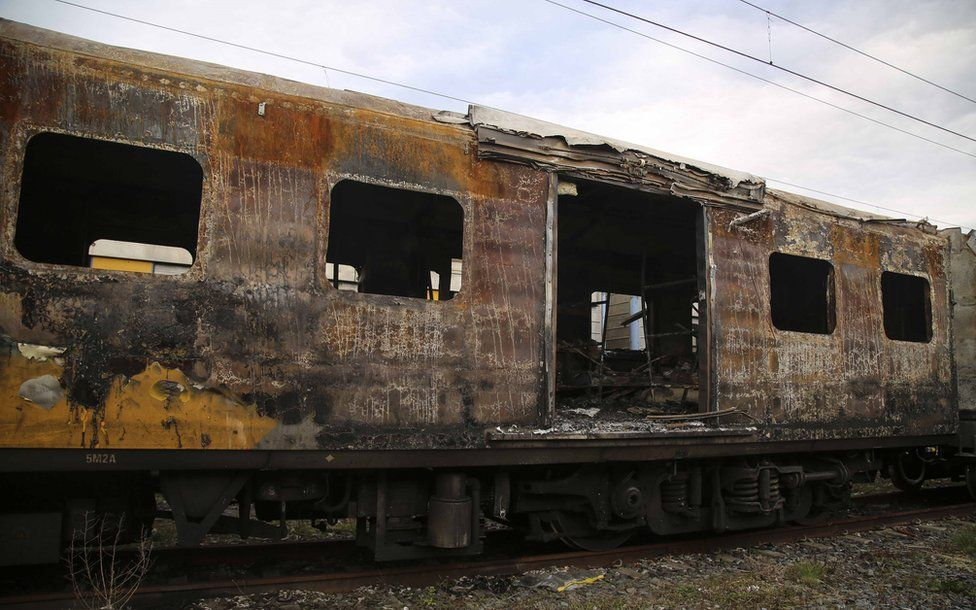A burnt-out train