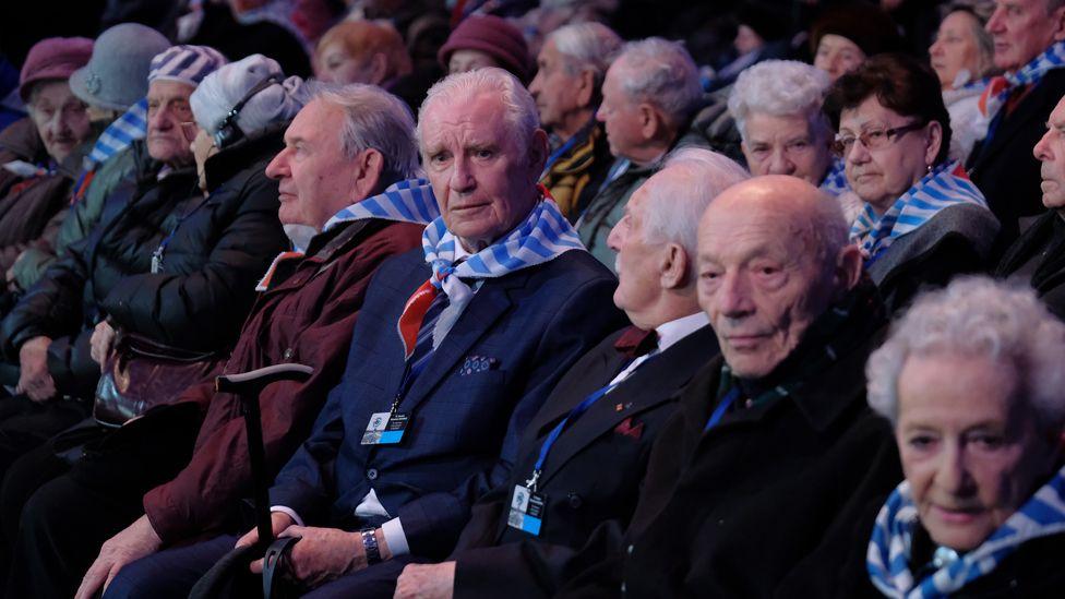 Survivors at Auschwitz, 27 Jan 20