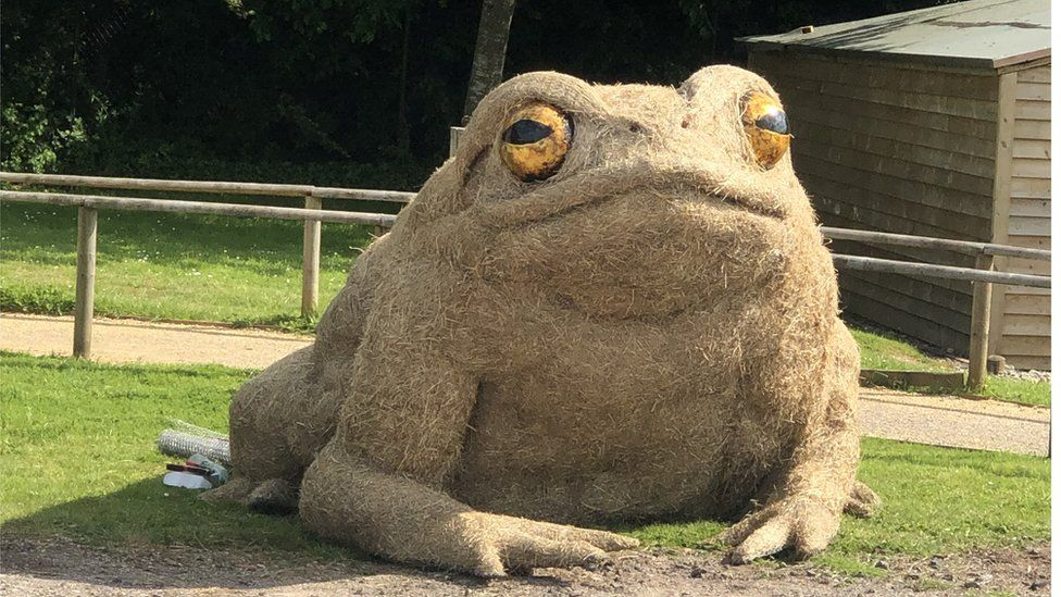 Frog sculpture made of straw at Longleat