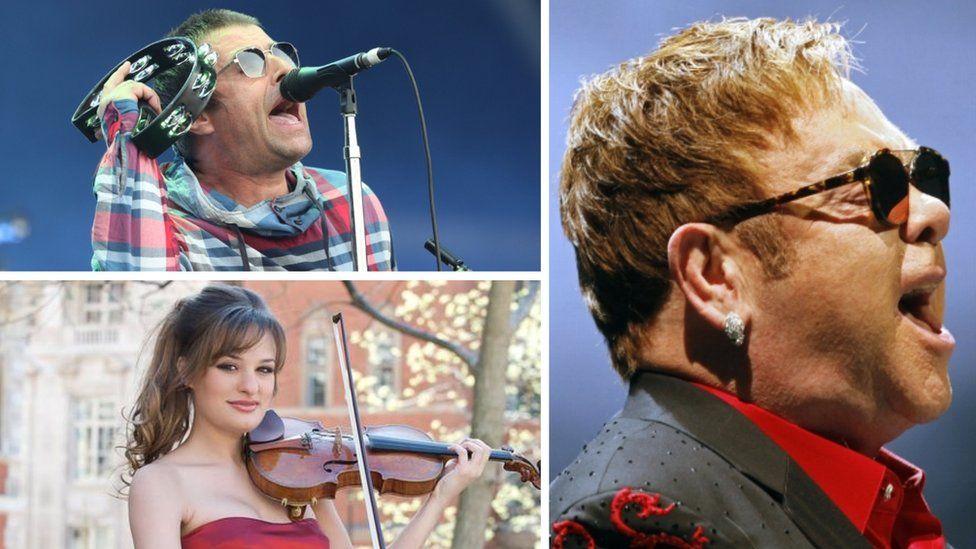 Liam Gallagher, Elton John and Nicola Benedetti