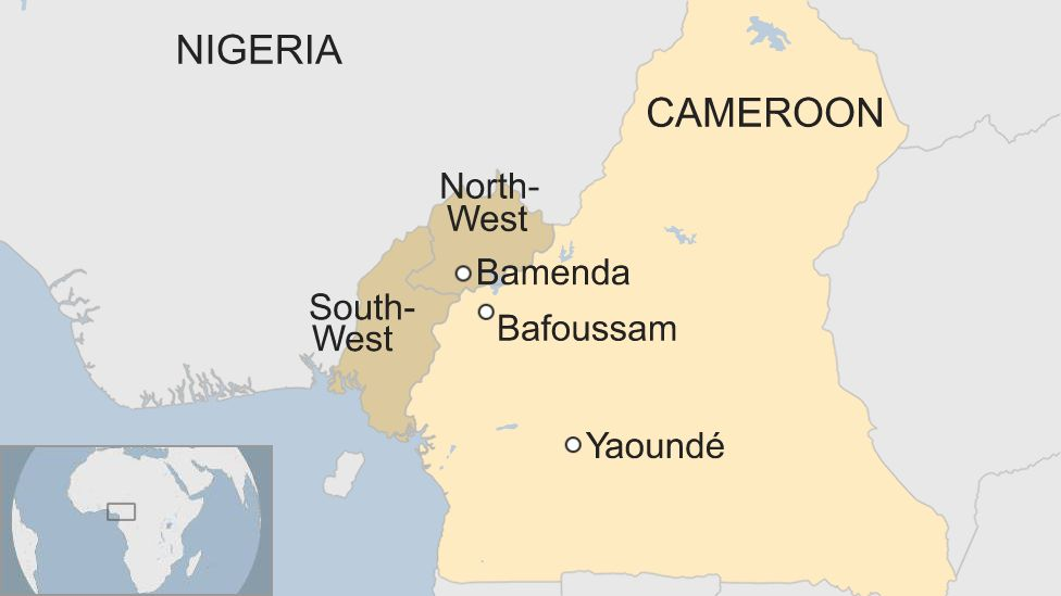 A map of Cameroon showing the locations of Yaoundé, Bamenda and Bafoussam