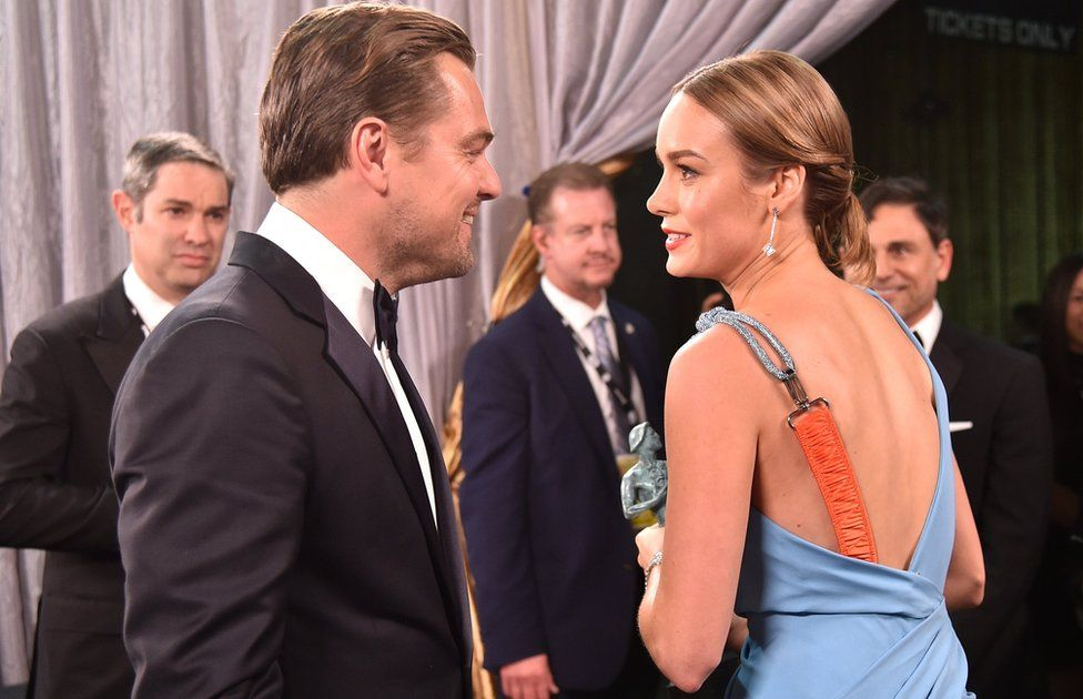 Actors Leonardo DiCaprio (L) and Brie Larson at The 22nd Annual Screen Actors Guild Awards on January 30, 2016 in Los Angeles