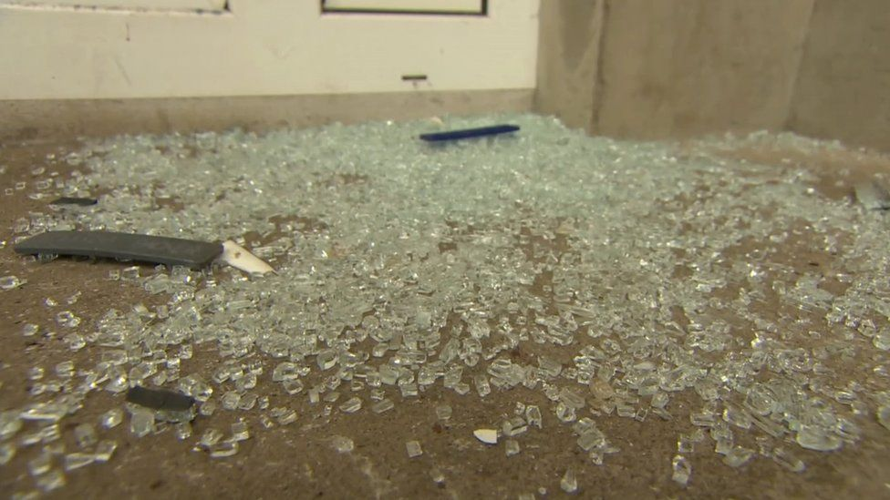Shattered glass at the scene