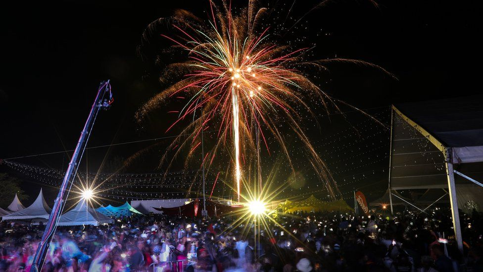 Fireworks illuminate the night sky during New Year's Eve celebrations at a concert in Nairobi, Kenya