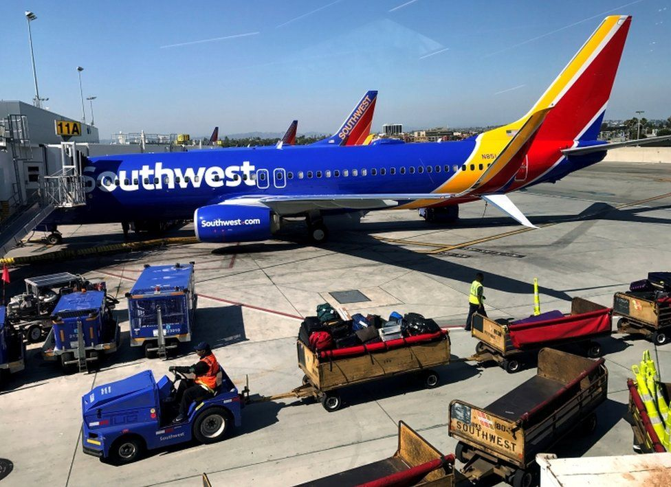 A Southwest Airlines Boeing 737-800 plane pictured at Los Angeles International Airport