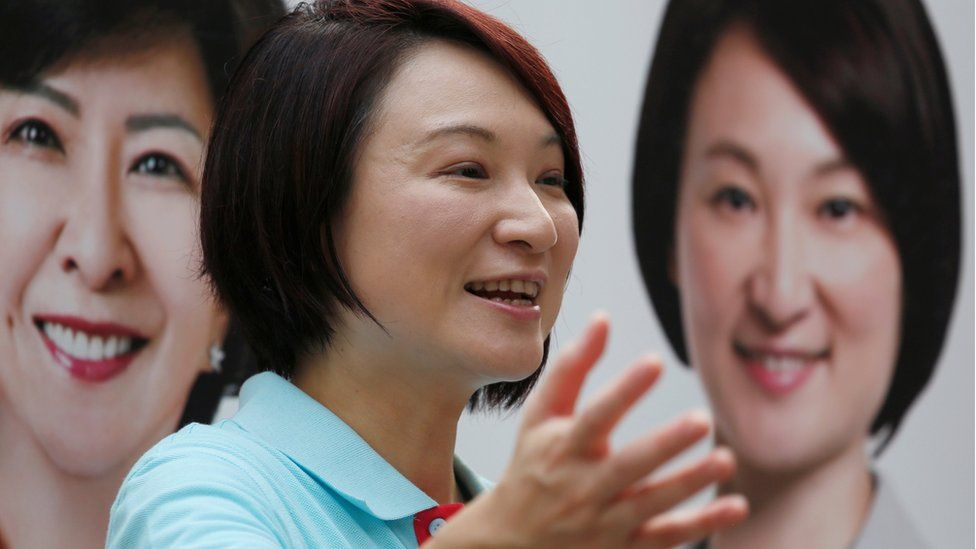 Starry Lee, chairwoman of the Democratic Alliance for the Betterment and Progress of Hong Kong, campaigns in Hong Kong, China August 31, 2016,