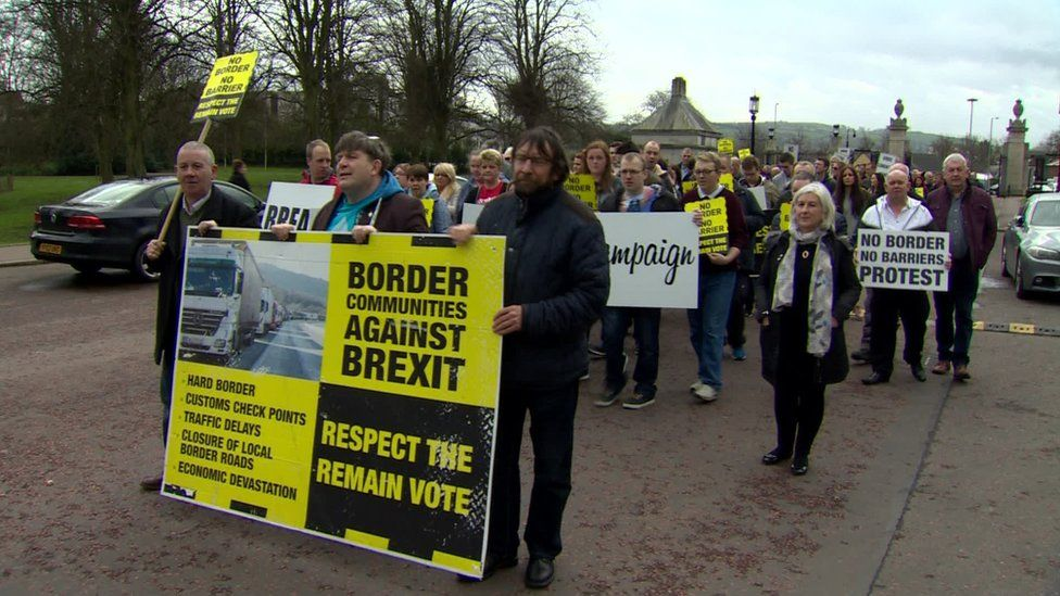 Earlier this year, residents from border communities held a protest at Stormont
