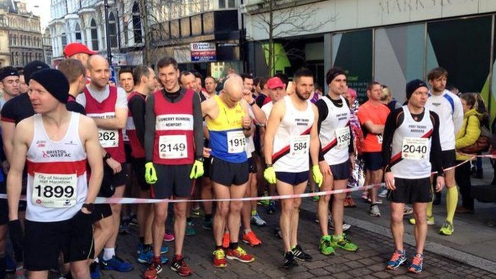 Runners at the start line of the Newport half marathon in 2015