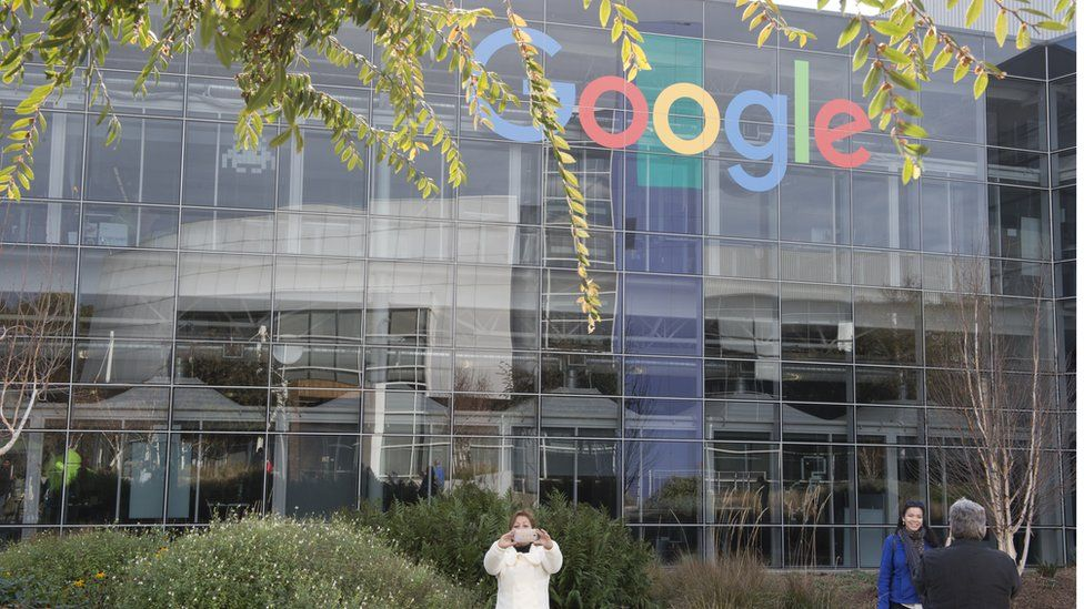 Tourist visit the headquarter of Google in Mountain View, California