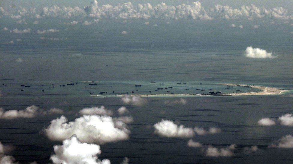 Spratly Islands as seen through the window of a military plane on 16 October 2015