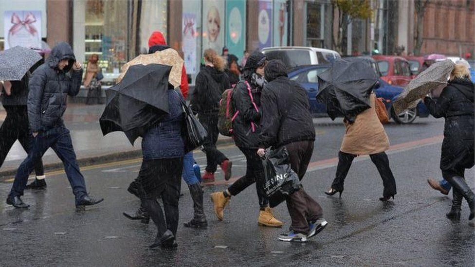Umbrellas out in Belfast