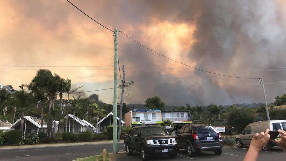 Bushfire in the town of Tathra