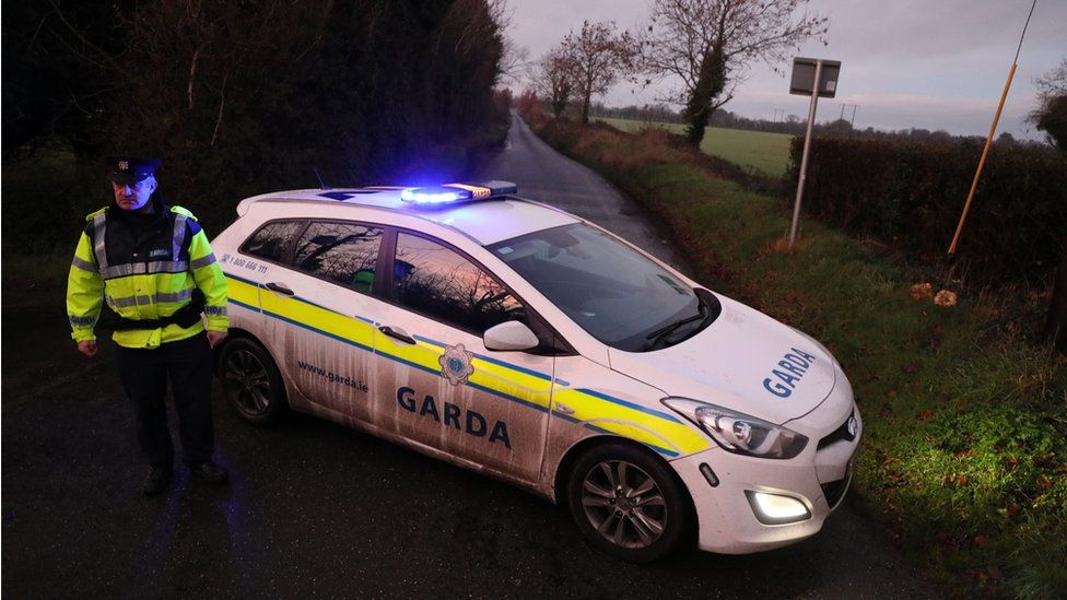 A garda vehicle blocked the road close to the scene