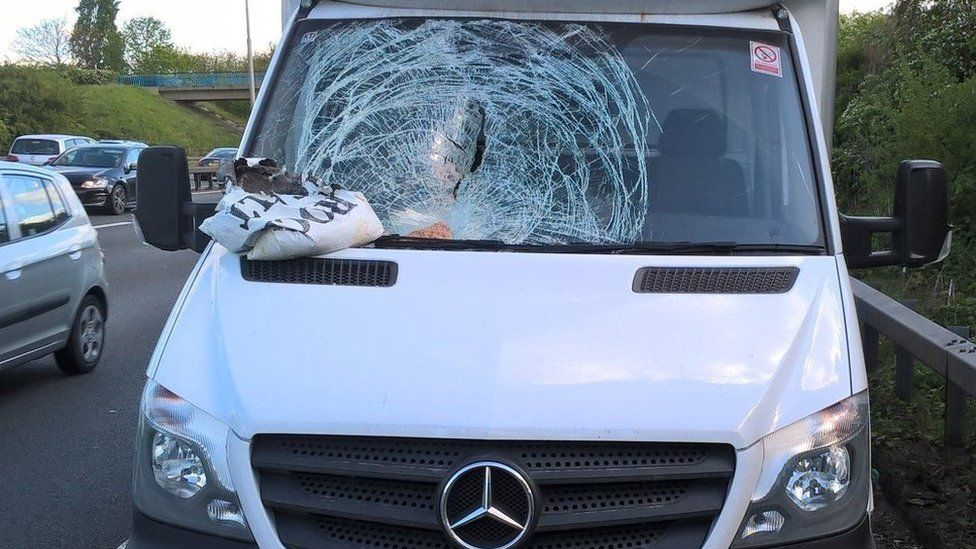 Rock salt bag on smashed van window