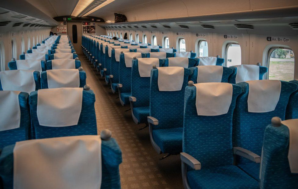 A shinkansen bullet train carriage is almost completely empty on April 22, 2020 in Yokohama, Japan