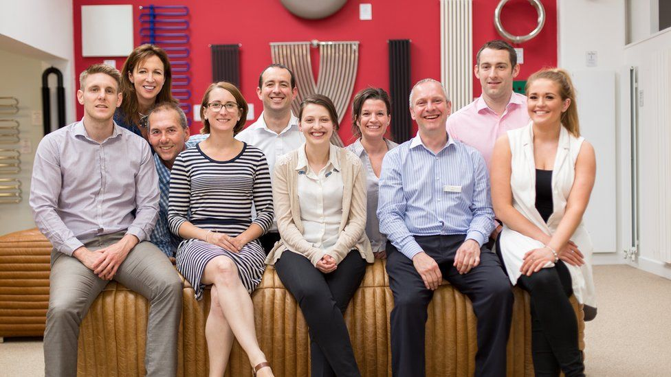 Helena Gerwitz, front second from left, with the team at Feature Radiators in West Yorkshire