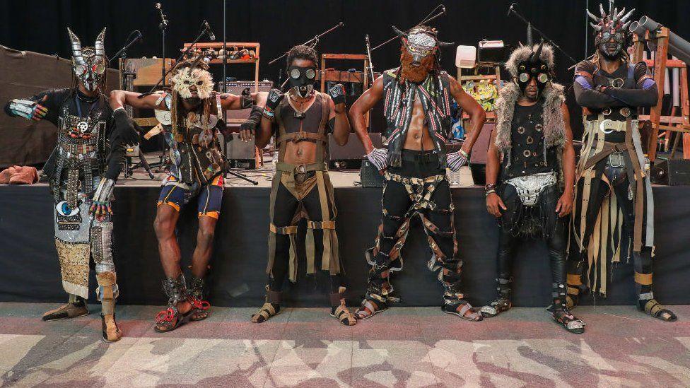 The eco-afrofuturist punk band Fulu Miziki pose at the International Festival of Performing Arts.