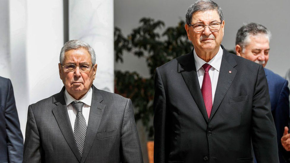 Mr Bensalah (l) during his recent visit to Tunisia for the Arab Summit
