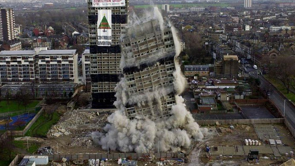 Demolition of tower blocks Sutherland and Embley points