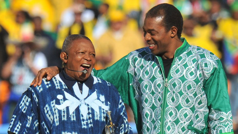 Hugh Masekela with Femi Kuti