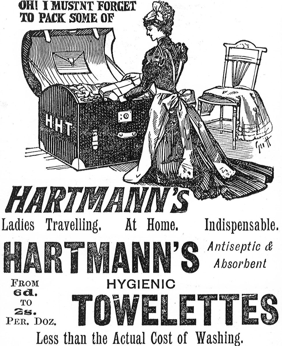 An advert for Hartmann's Towelettes from the 1890s
