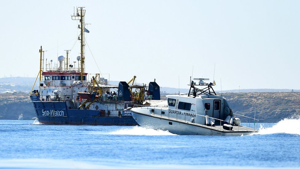 Italian authorities send a boat to intercept the German rescue vessel