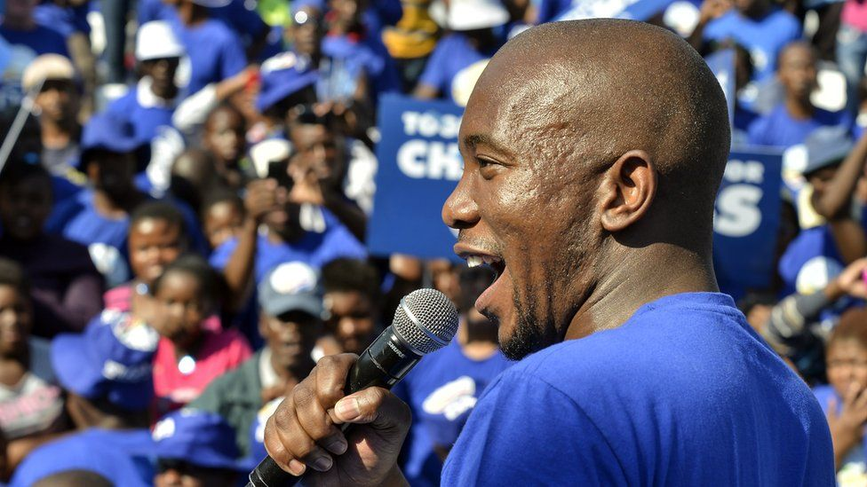 Mmusi Maimane, the candidate for Johannesburg of South Africa's main oppostion party Democratic Alliance (DA), addresses supporters at the Walter Sisulu Square in Kliptown, Soweto, on May 4, 2014
