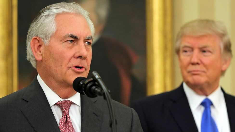 US Secretary of State Rex Tillerson speaks after his swearing-in ceremony at the Oval Office, accompanied by President Donald Trump, 21 March 2017