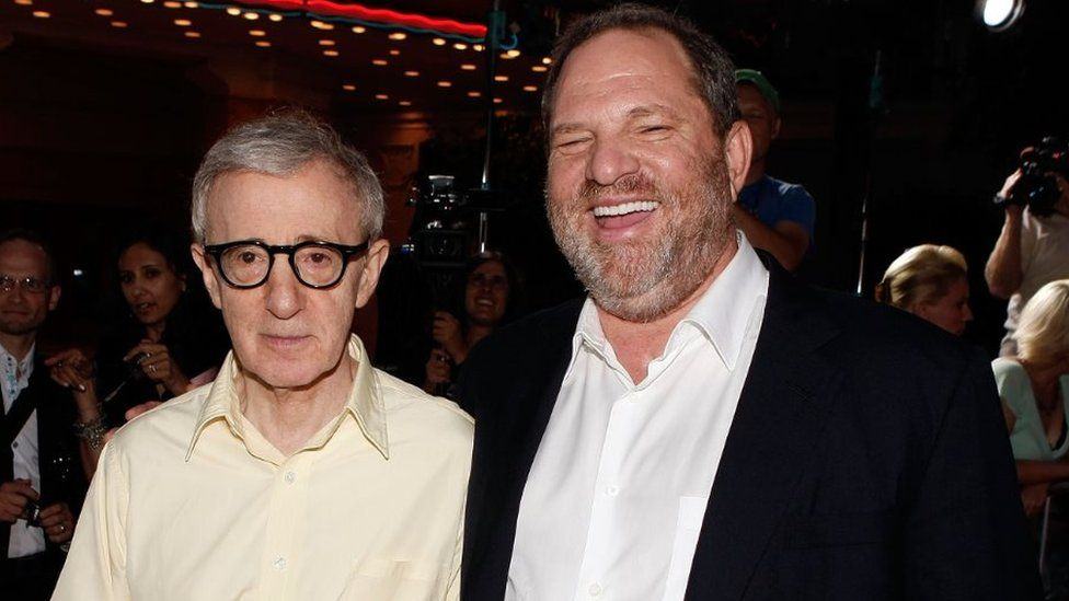 Director Woody Allen and producer Harvey Weinstein arrive on the red carpet at the Los Angeles Premiere of 'Vicky Cristina Barcelona' in 2008