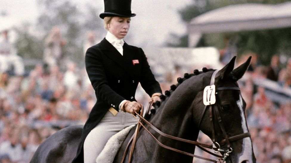 Princess Anne rides her horse Goodwill during the dressage part of the European three-day Championship in Luhmuelen, Germany