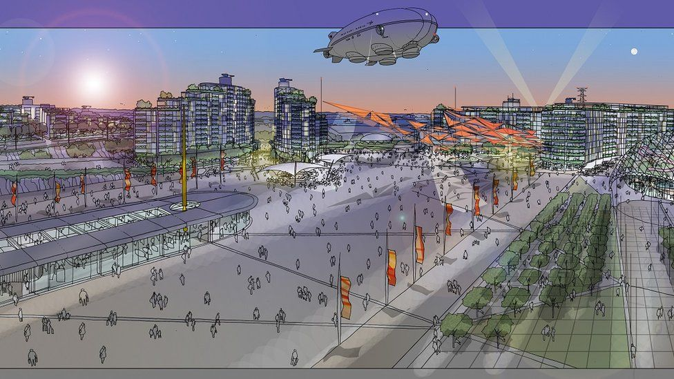 Artists impression of Arrival Plaza, Hotels and Market