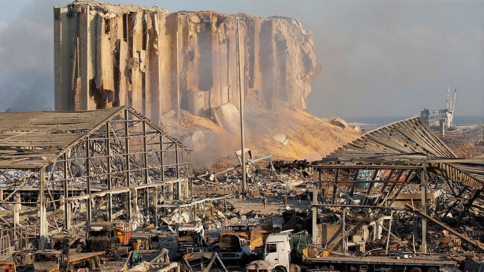 Remains of Beirut port's grain silos and ruined warehouses following an explosion on 4 August 2020