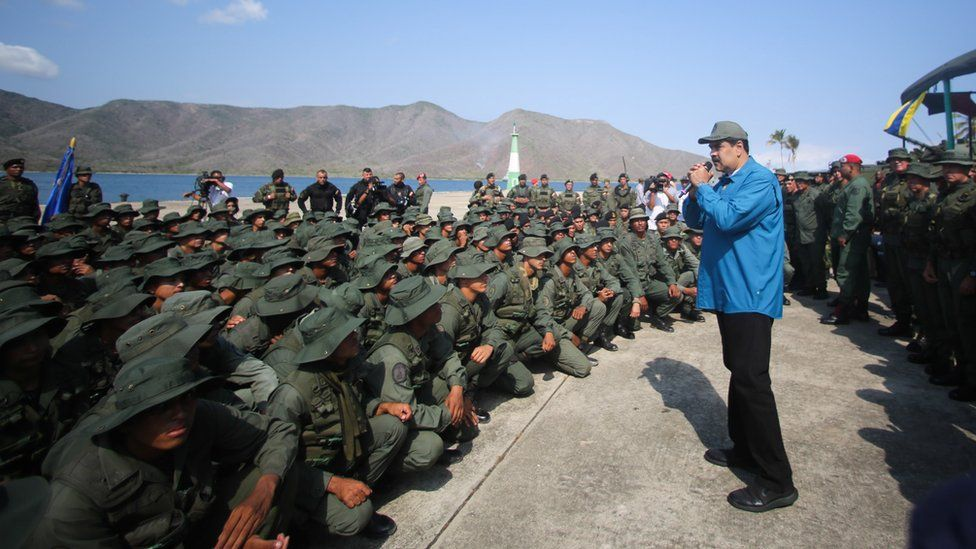 Miraflores press office shows Venezuelan President Nicolás Maduro during an event with members of the military, in Turiamo, Venezuela, 3 February 2019
